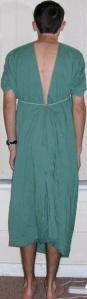 Bedsheet garment, back view